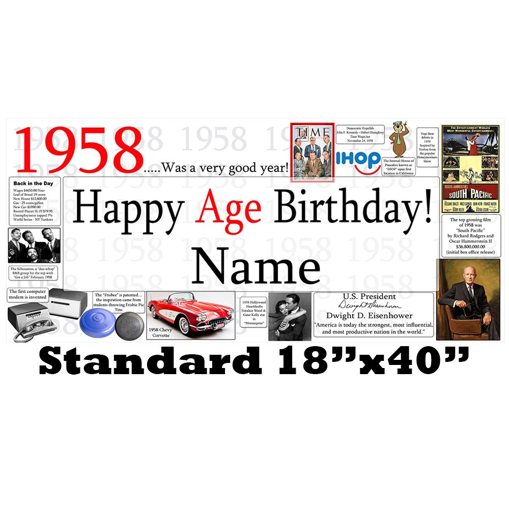 1958 60th Birthday Personalized Banner by Partypro