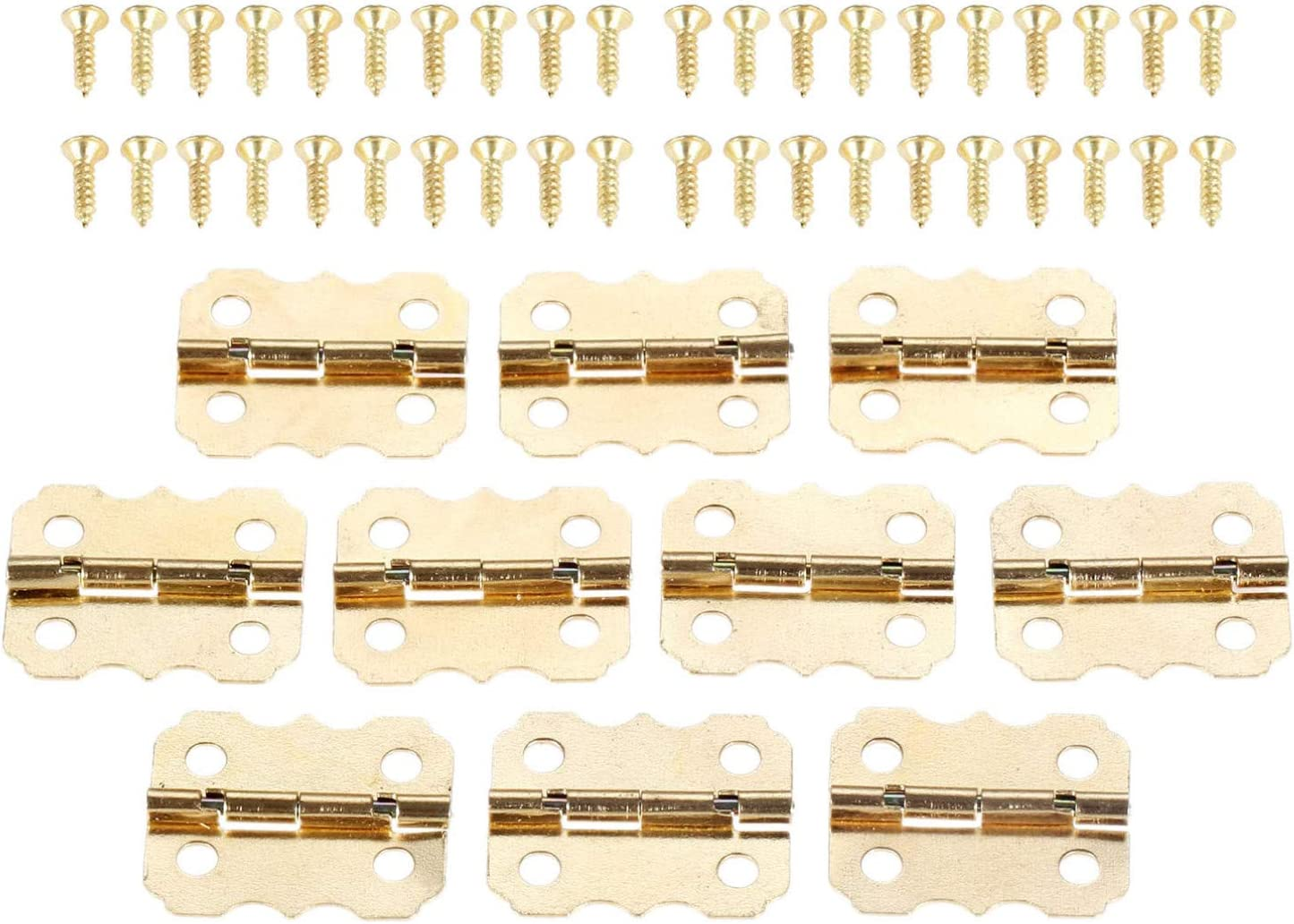 10 Uds bisagras de Metal dorado para muebles, bisagra de puerta de cajón de armario, bisagras decorativas de mariposa de 4 agujeros para joyero de 25 * 20mm