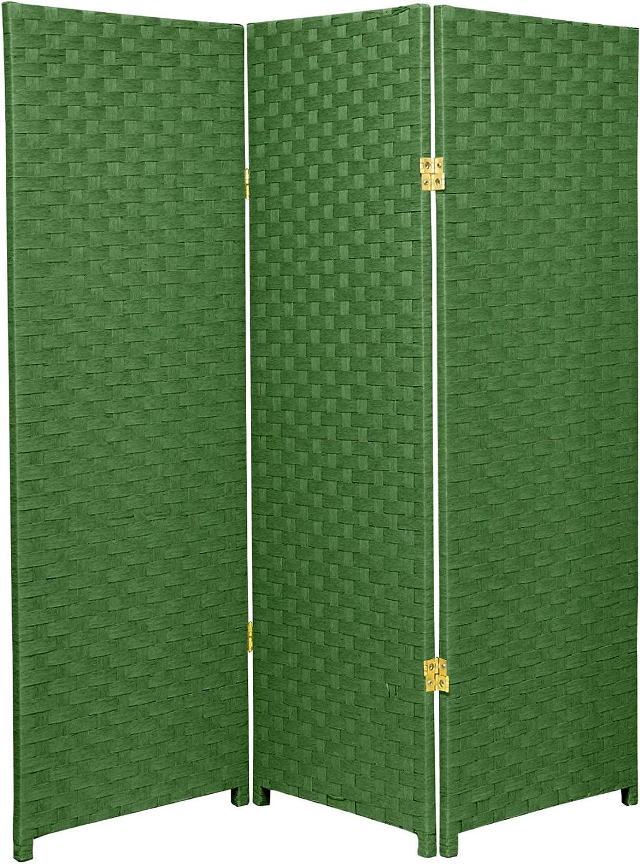 ORIENTAL FURNITURE Muebles Orientales Tamaño pequeño 3 Panel Separador, 121,92 cm ratán como Fibra de Planta en Tejido Plegable Protector de Pantalla con Filtro de privacidad, Color Verde Claro: Amazon.es: Hogar