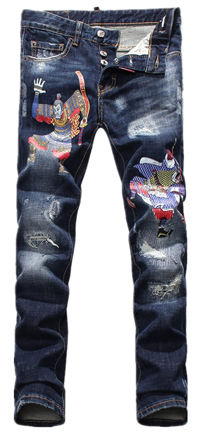 d92804074d Allonly Men's Stylish Casual Skinny Fit Stretch Straight Leg Cartoon  Painted Jeans Pants With Broken Holes at Amazon Men's Clothing store: