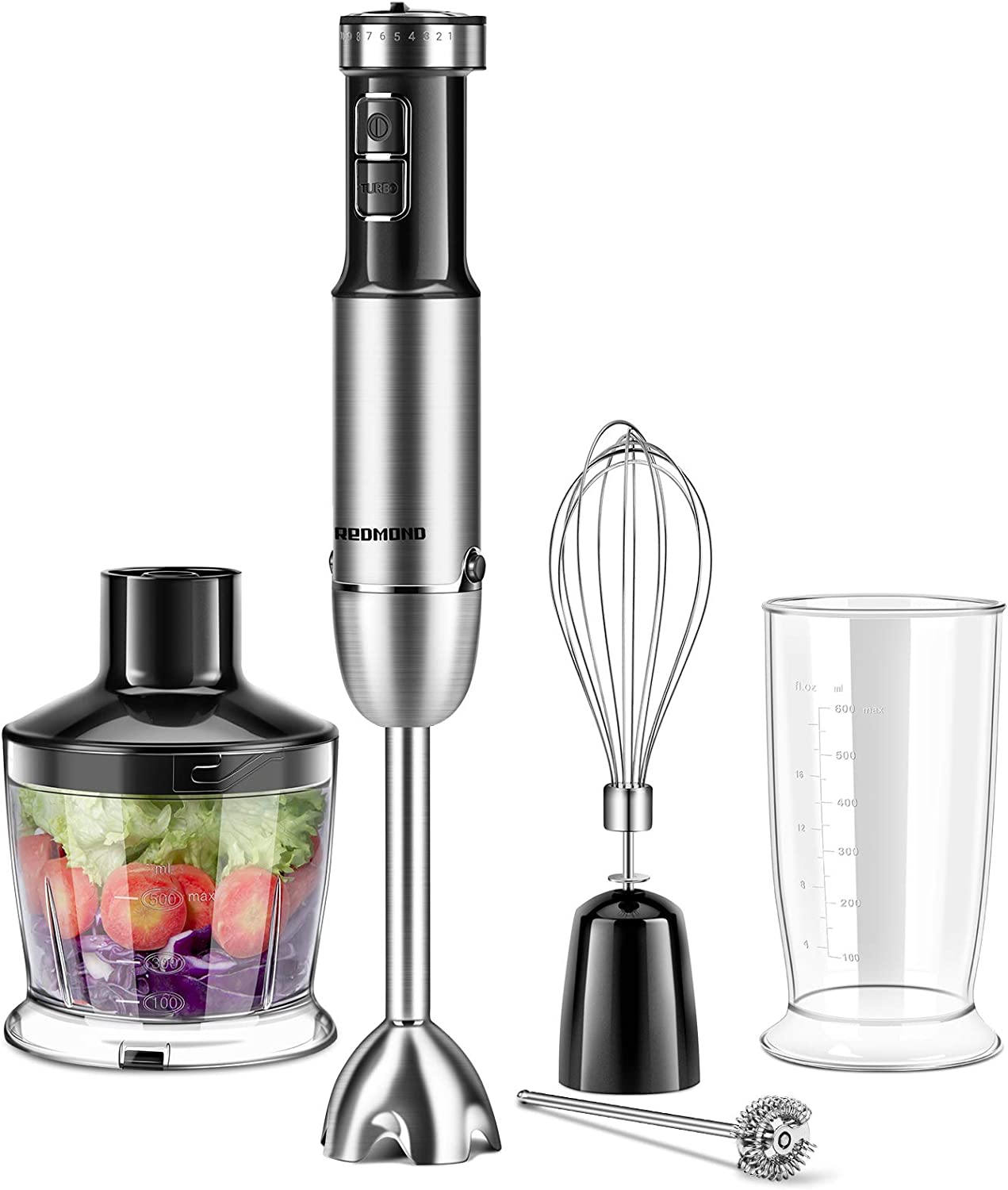 REDMOND 5-in-1 Immersion Hand Blender Multifunctional, 12 Speed Stainless Steel Immersion Stick Blender with Milk Frother, 500ml Chopper, Egg Whisk, 600ml Container, BPA-Free, Black, HB005