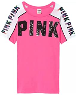 c85466a23be VS Pink Victoria s Secret Pink Perfect Crew Tee Shirt Floral and Bling  Graphics