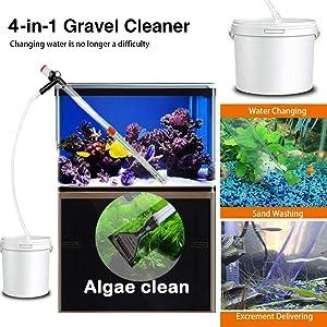 4 in1 Aquarium Gravel Cleaner Water Change Algae Scraper, Fish Tank Sand Wash Pump Kit with Air-Pressing Button and Adjustable Water Flow Controller Clamp for Fish Tank Siphon Vacuum Gravel Cleaning