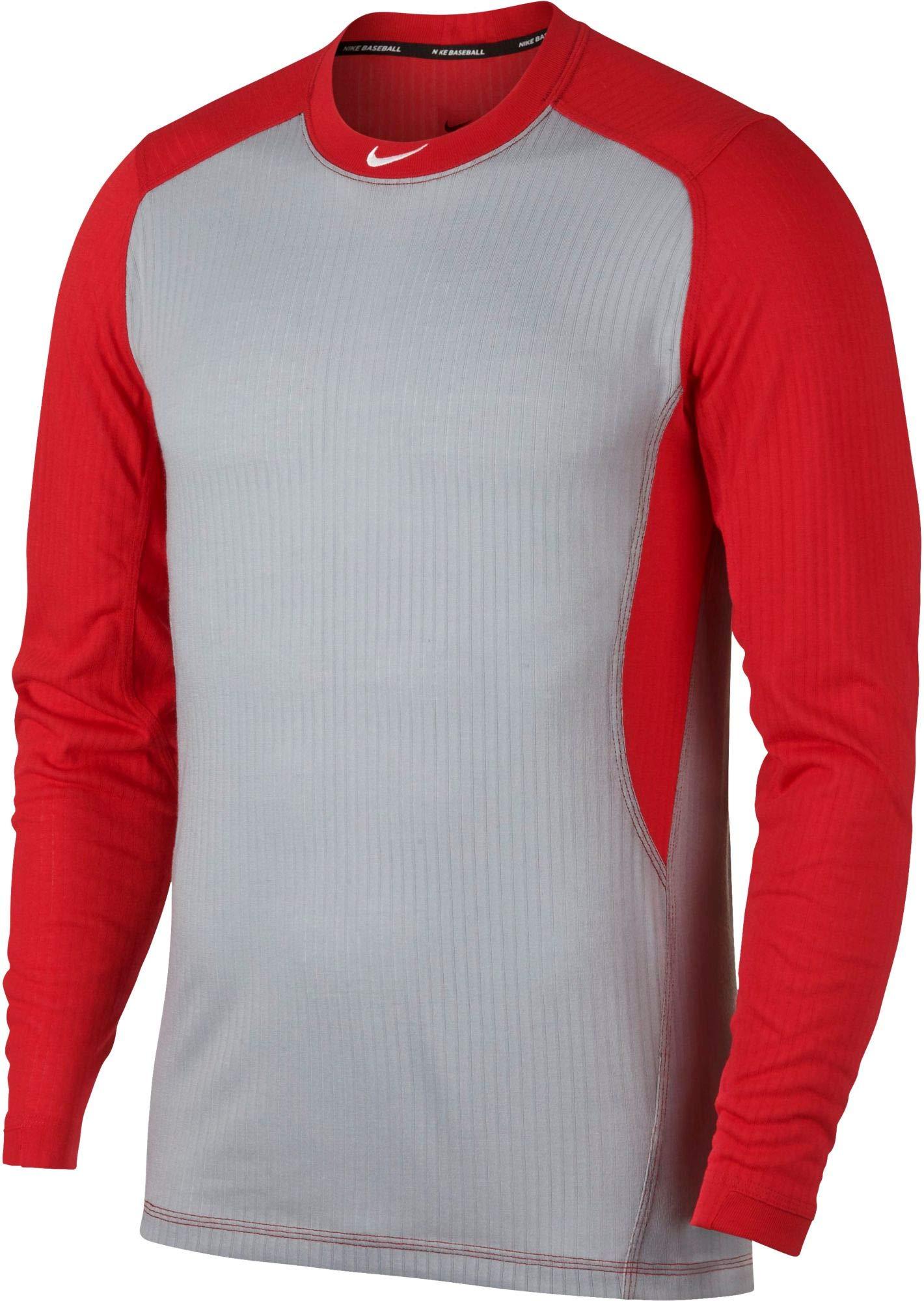 NIKE Men's Long-Sleeve Baseball Top (Wolf Grey/University Red, Medium)