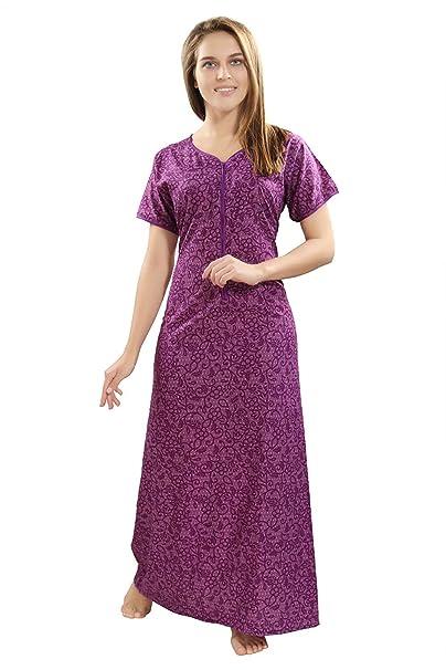 8072642976 PIU New Women s Cotton Front Long Zipper Nighty   Nightdress   Night Gown    Feeding Gown V neckline   Maternity dress   Nursing Nighty  Feeding Gown ...