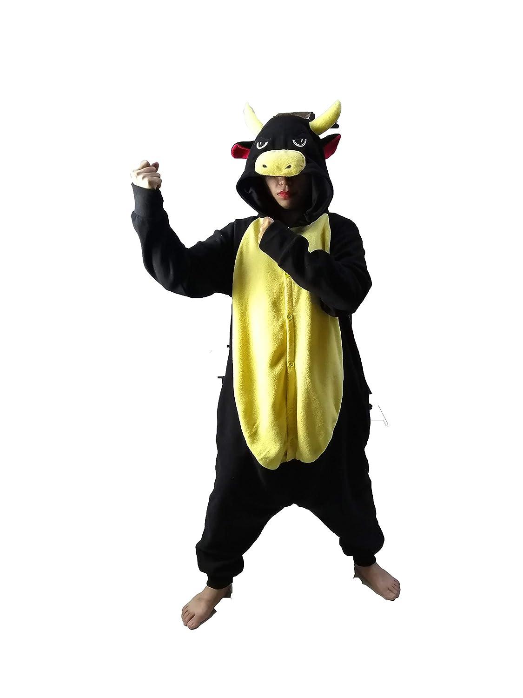 dressfan Tuta Animale Toro Nero Pigiama Adulto Unisex Costume in Pile Polare