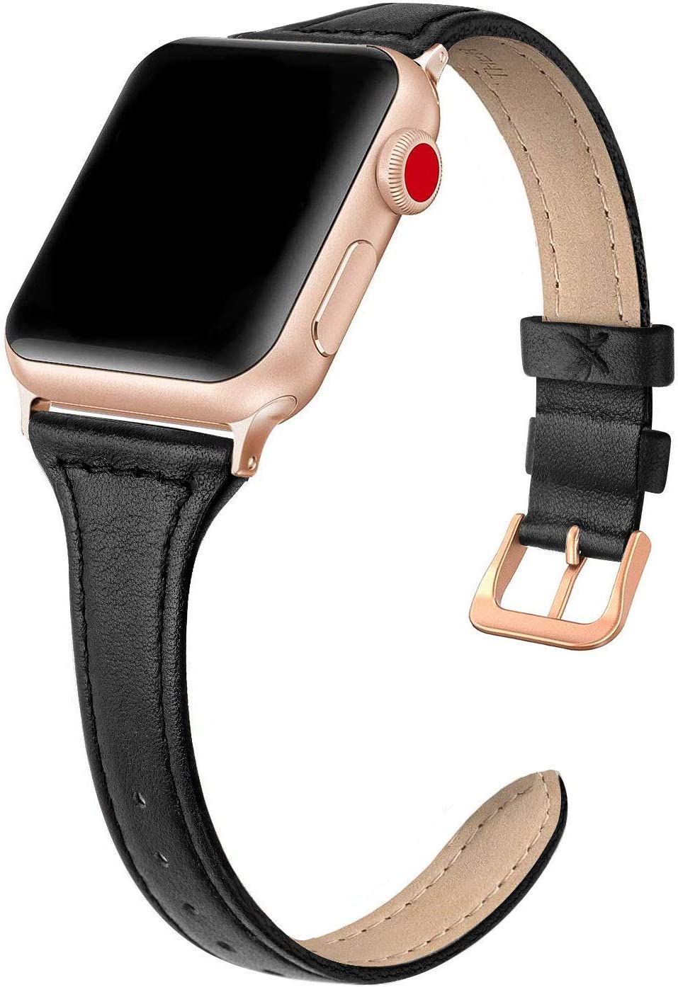 SWEES Leather Band Compatible for iWatch 38mm 40mm, Slim Thin Dressy Genuine Leather Strap with Rose Gold Buckle Compatible for iWatch Series 6, 5, 4, 3, 2, 1, SE, Sport & Edition Women, Classic Black