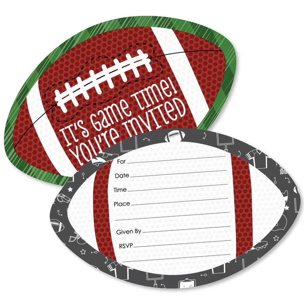 End Zone - Football - Shaped Fill-In Invitations - Baby Shower or Birthday Party Invitation Cards with Envelopes - Set of 12