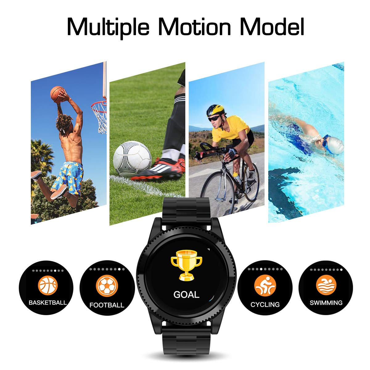 GOKOO Smart Watch for Men, Sports Smartwatch Fitness Tracker with Pedometer Notifications Music Control Blood Pressure Heart Rate Monitor Camera Color Touch Screen for Android iOS (Black) by GOKOO (Image #2)