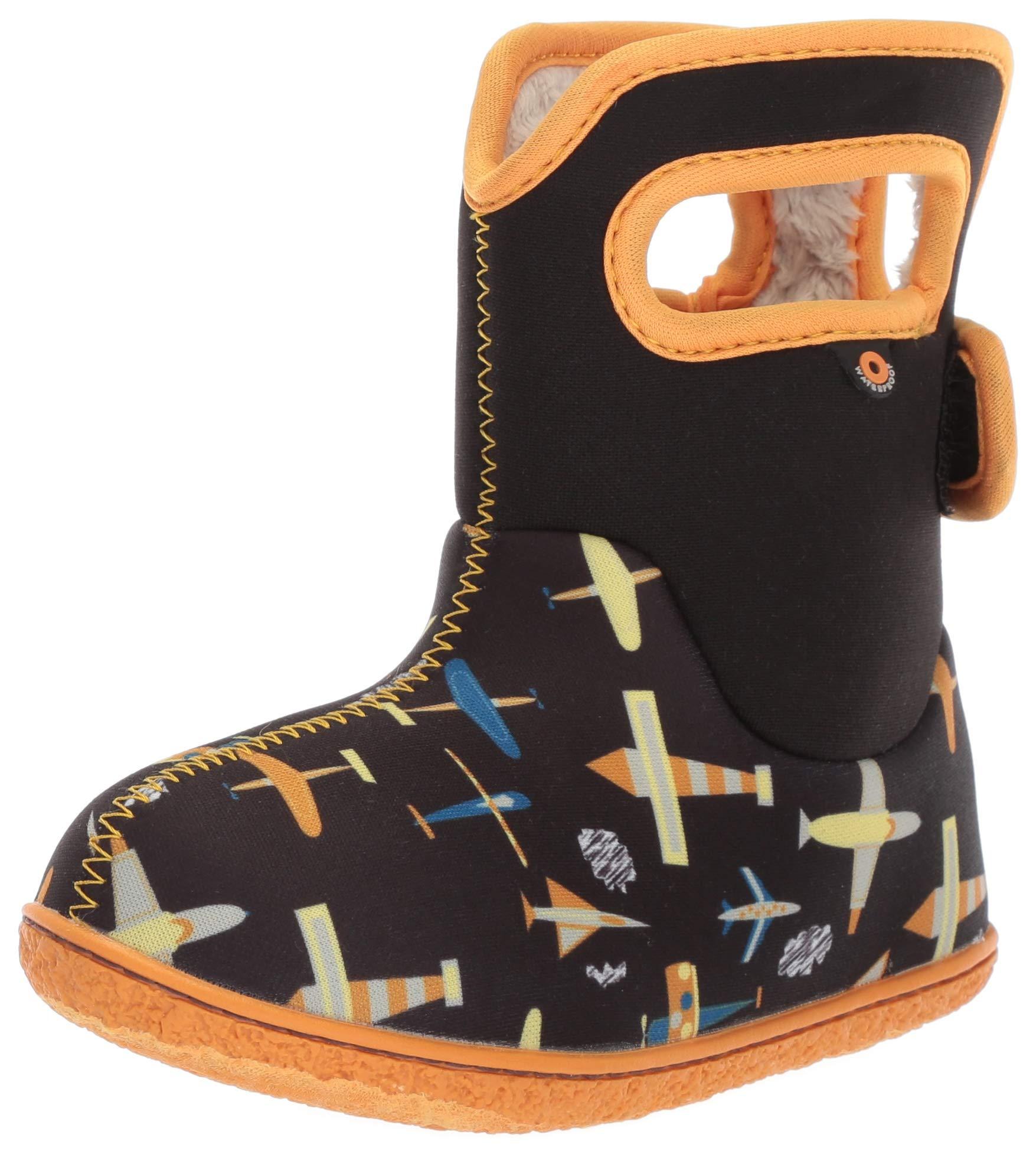 BOGS Baby Snow Boot, Planes Black/Multi, 4 Medium