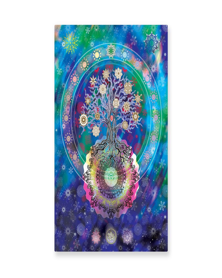 Lunarable Mandala Wall Art, Tree of Life Floral Style Mandala Spiritual Artwork Meditation Peace Spa Design, Gloss Aluminium Modern Metal Artwork for Wall Decor, 11.6 W X 23.5 L Inches, Blue Purple
