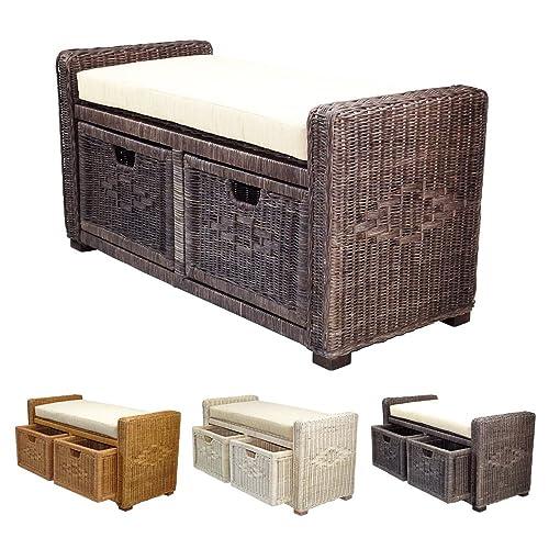 Rattan Wicker Bruno Handmade 35 Chest Storage Trunk Organizer Ottoman Two Drawers Dark Brown