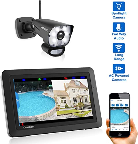 CasaCam VS1001 Wireless Security Camera System with 7 Touchscreen and HD Spotlight Camera, AC Powered Spotlight 1-cam kit