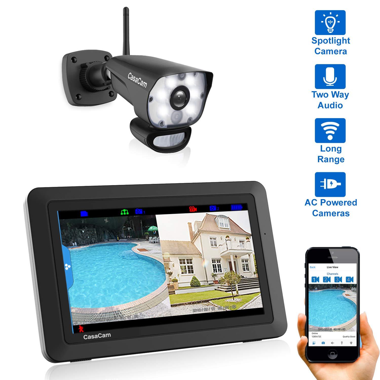 CasaCam VS1001 Wireless Security Camera System with AC Powered HD Spotlight Cameras and 7'' Touchscreen Monitor (Spotlight 1-cam kit) by CasaCam