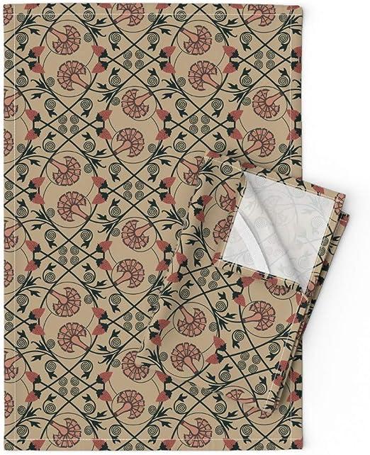 Linen Cotton Dish Towels Tea Towels Red Poppies Red Black Gray Tea Towels set
