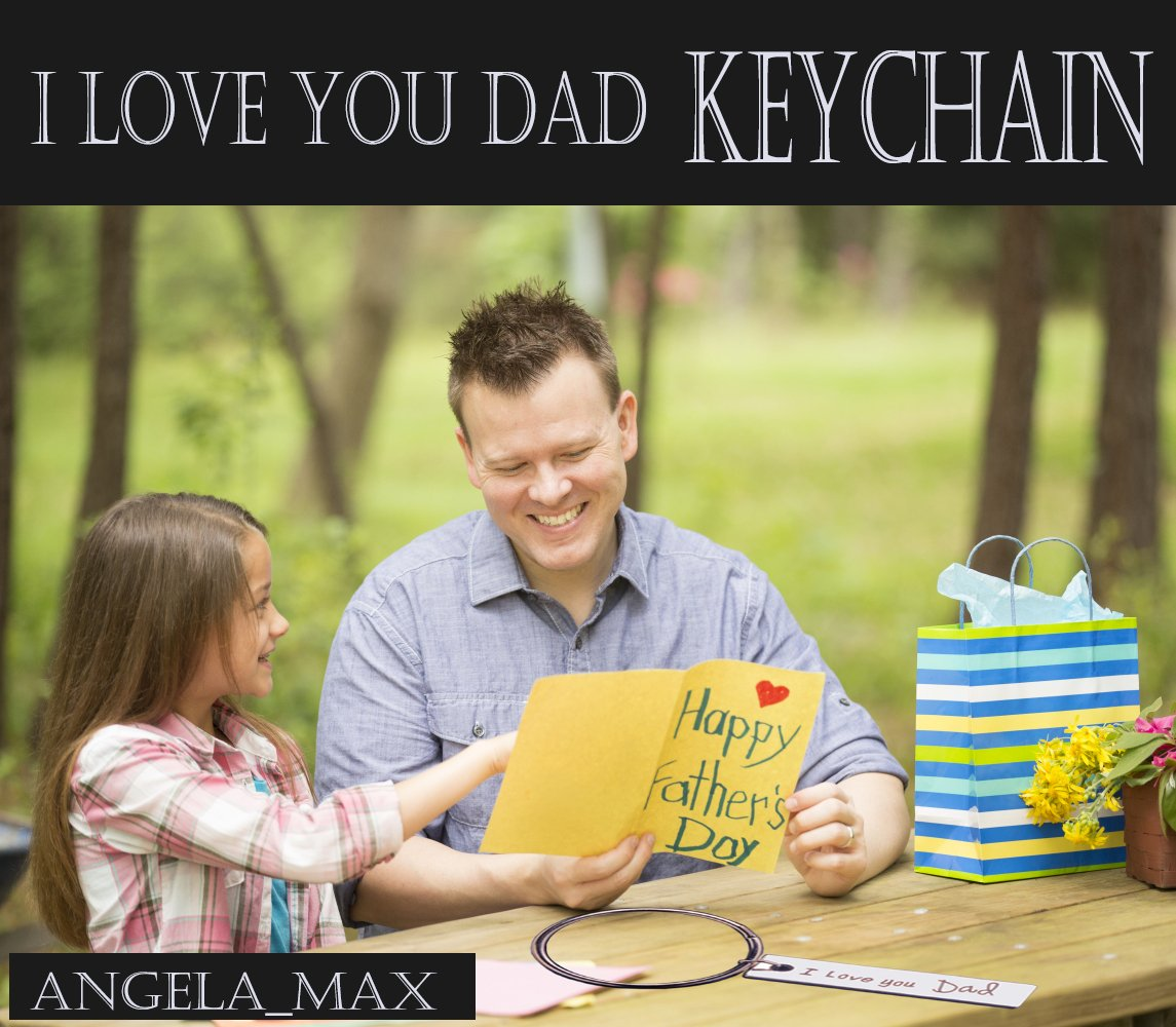 Dad Keychain,I Love You Dad Keychain Angela_Max Fashion Accessories Silver Men\'s Square Letter Charm Pendant Keychain Father\'s Day Gift Keyrings