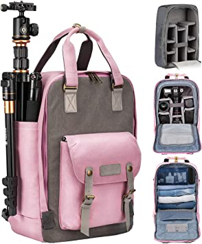 Amazon Com Tarion Camera Bag Backpack For Women Photographers Dslr Backpack With Laptop Compartment Tripod Holder Padded Removable Insert Case Waterproof Raincover 2 In 1 Camera Equipment Bag Cute Pink Camera Photo