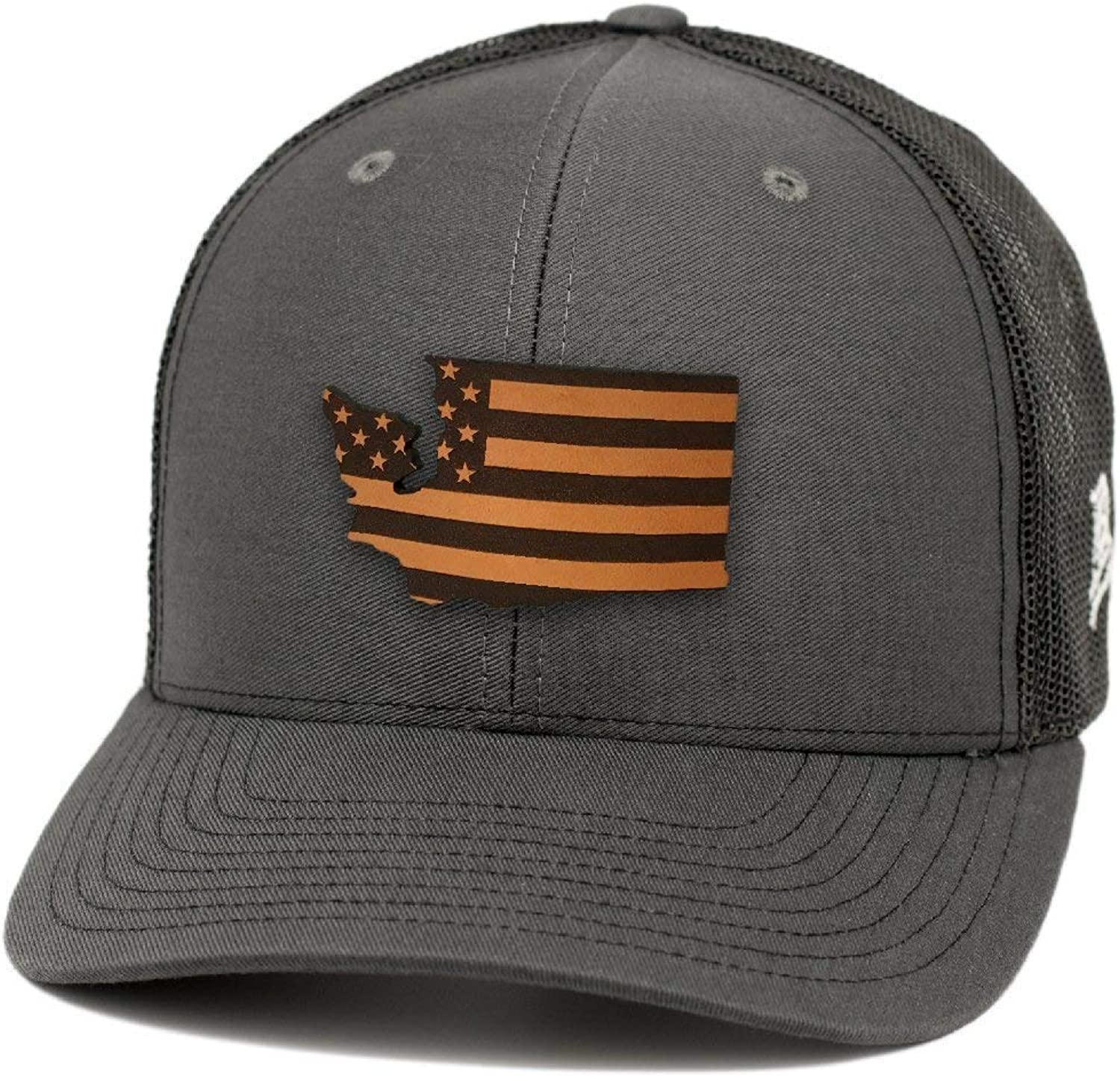 Branded Bills Washington Patriot Leather Patch Hat Curved Trucker