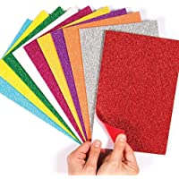 VJTI Self-Adhesive Pack of 10 EVA Foam Glitter Sheets A4 Size - for Arts & Crafts, Scrapbooking, Paper Decorations (with Free Packet of SHAGUN ENVELOPES - Pack of 2 - Randomly Picked Colour) by patel enterprises