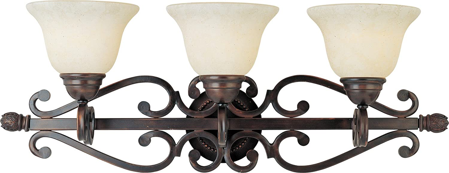 Maxim Lighting 12213FIOI Manor 3-Light Bath Vanity, Oil Rubbed Bronze with Frosted Ivory Glass
