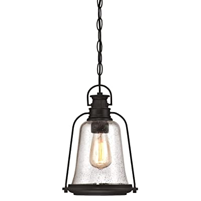 Westinghouse Lighting 6339900 Brynn One-Light Outdoor Pendant, Oil Rubbed Bronze Finish with Highlights and Clear Seeded Glass