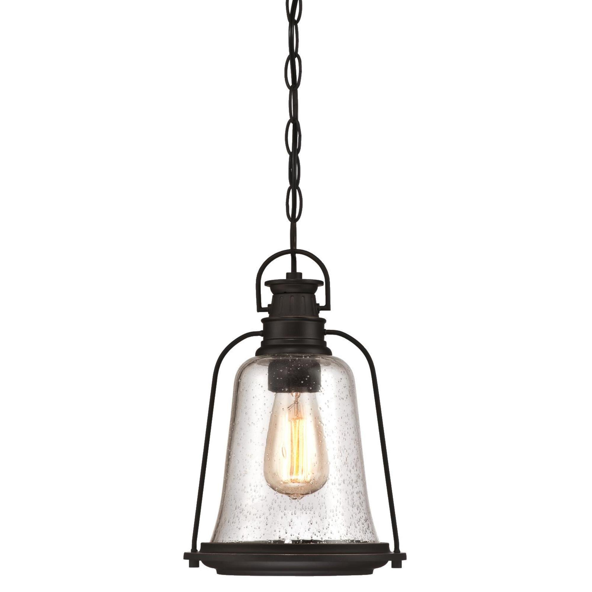 Westinghouse Lighting 6339900 Brynn One-Light Outdoor Pendant, Oil Rubbed Bronze Finish with Highlights and Clear Seeded Glass by Westinghouse Lighting