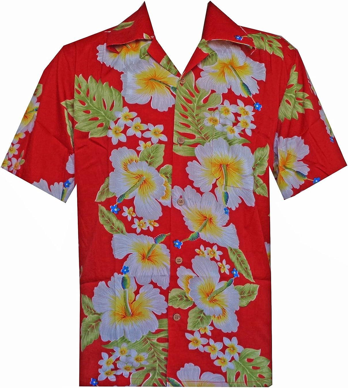 Camisa hawaiana para hombre con estampado de flores de hibisco para playa, fiesta, aloha campamento hawaiano para hombre - Rojo - Medium: Amazon.es: Ropa y accesorios