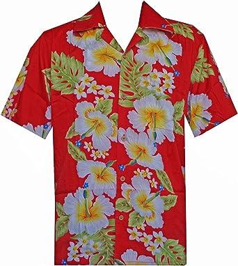 Camisa hawaiana para hombre con estampado de flores de hibisco para playa, fiesta, aloha campamento hawaiano para hombre - Rojo - Small: Amazon.es: Ropa y accesorios