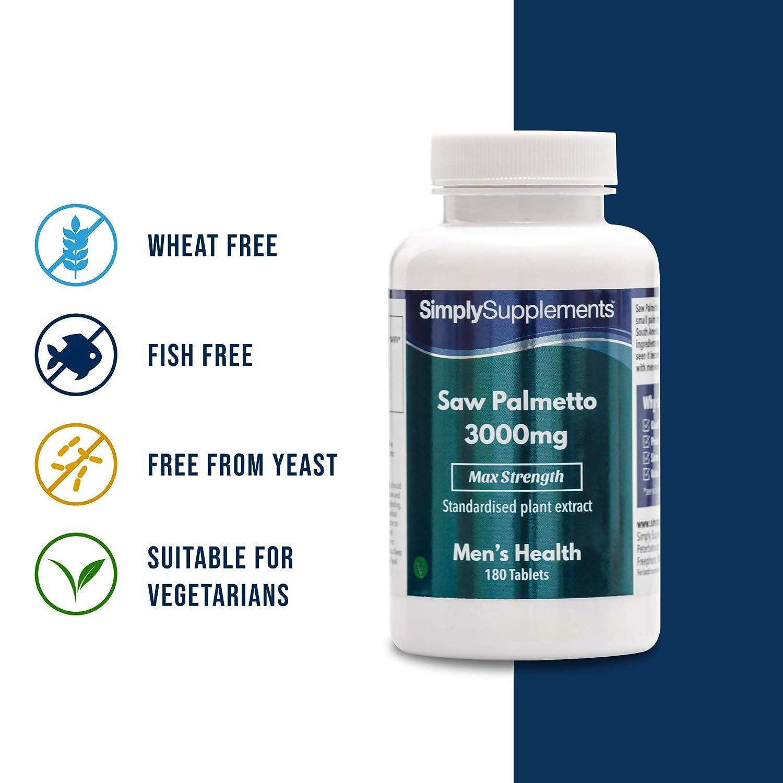 Saw Palmetto 3000mg – ¡Bote para 6 meses! – Apto para veganos – 180 comprimidos – SimplySupplements