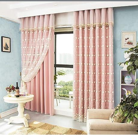 VIVIANE Princesa Pink Custom Cortinas Jardín Fresco Coreano Bordado Gasa Dormitorio Sala De Estar Blackout Ventana Productos, Dimensiones (Alto * Ancho): 2.5X2M, 2.5X2.5M, 2.5X3M, 2.5X3.5M: Amazon.es: Hogar