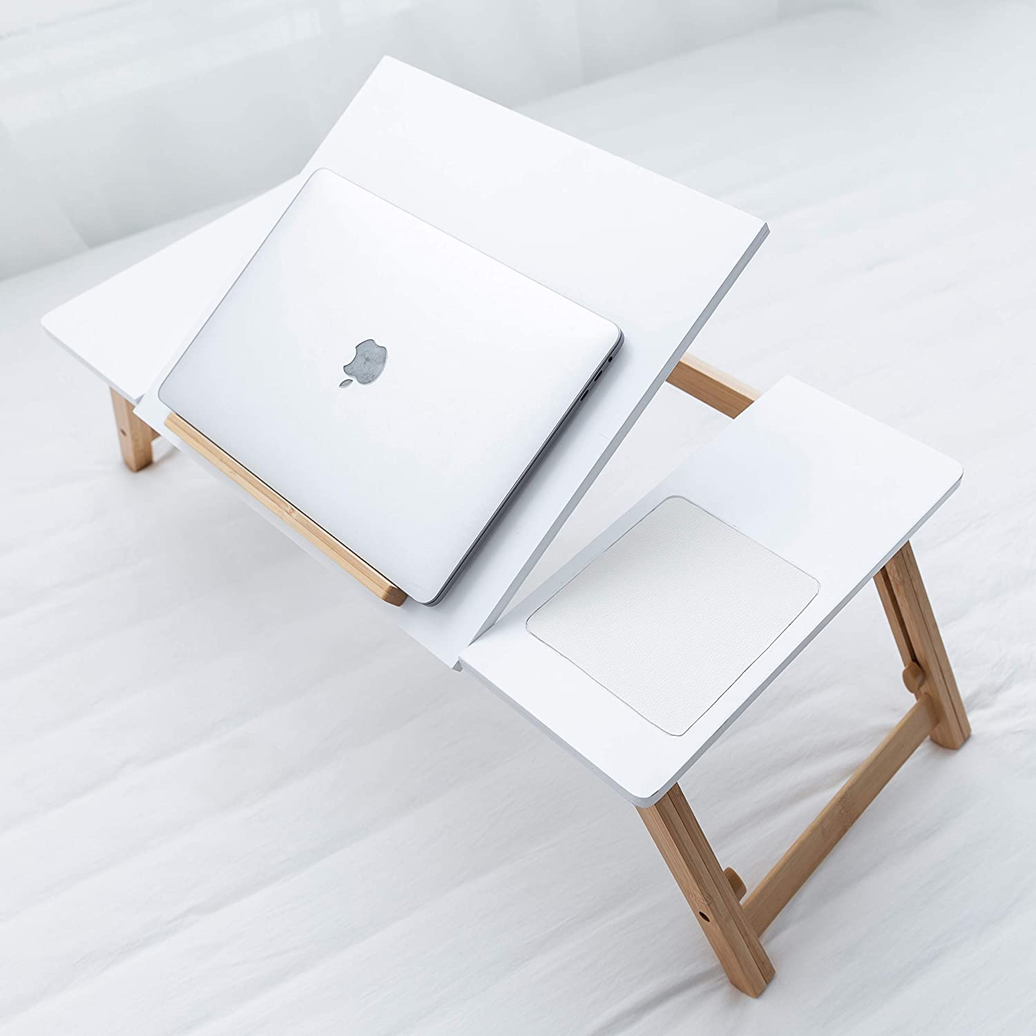 Techup Large Laptop Bed Table Desk for Work , Work from Home Accessories , Laptop Stand Foldable Computer Lap with Legs Bamboo
