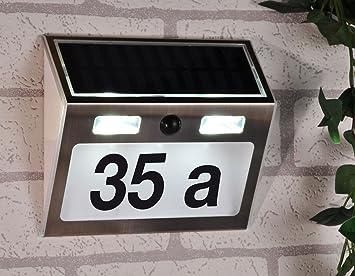 led solarhausnummer mit bewegungsmelder edelstahl mit komplettem nummern und zahlenset beleuchtete hausnummer