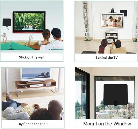 Antena de TV de 50 Millas aére de Largo Alcance amplificada TV Digital de Alta definición Amplificador de señal aérea Versión actualizada con Cable ...