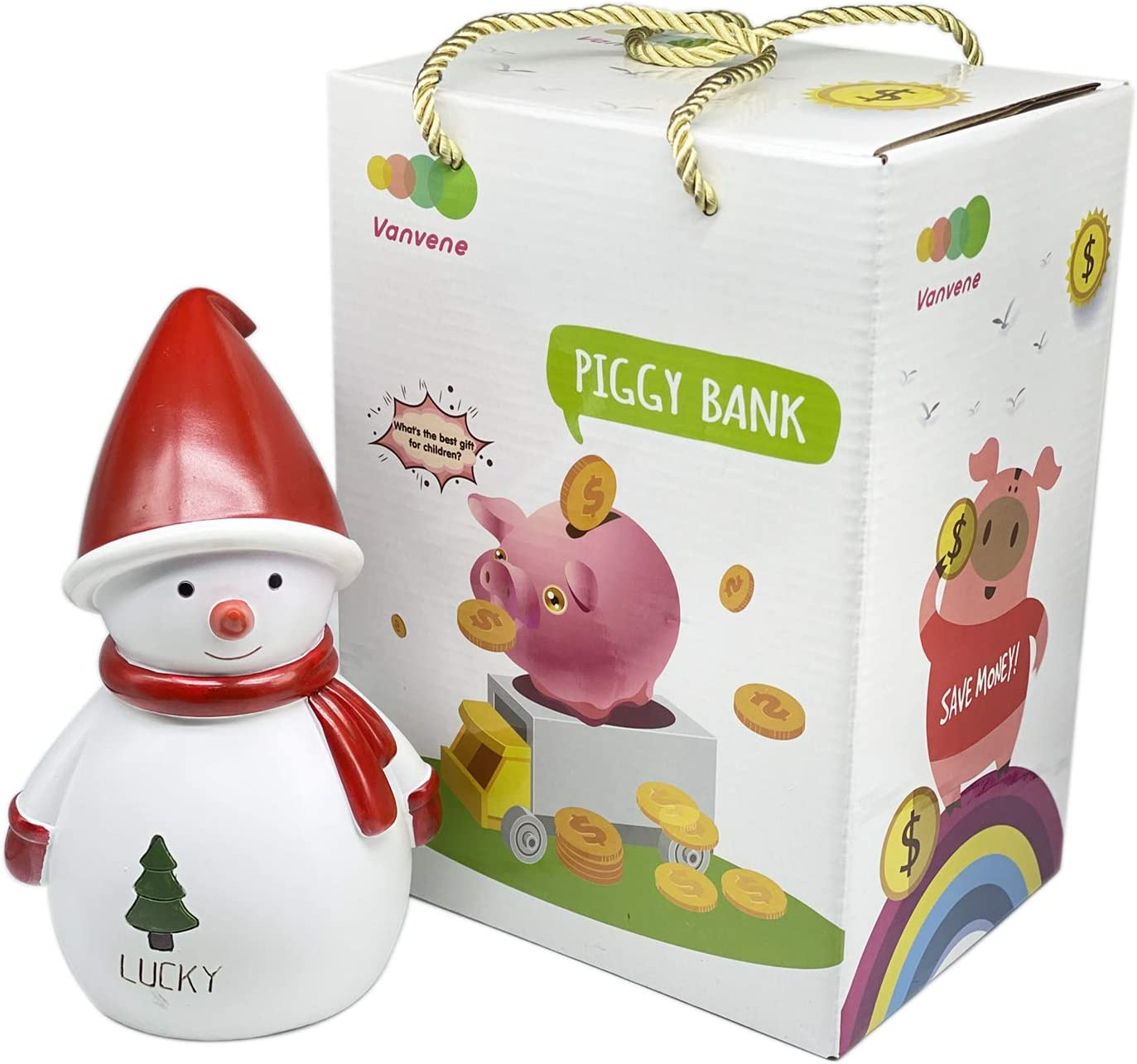 Christmas Decoration Large Size Piggy Banks Money Bank Coin Bank Best Birthday Great for Room Decor Happy Santa Piggy Bank for Kids Great Gift for Children in Christmas