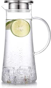 SUSTEAS 1.5 Liter 51 ounces glass pitcher with lid iced tea pitcher water jug hot cold water wine coffee milk and juice beverage carafe