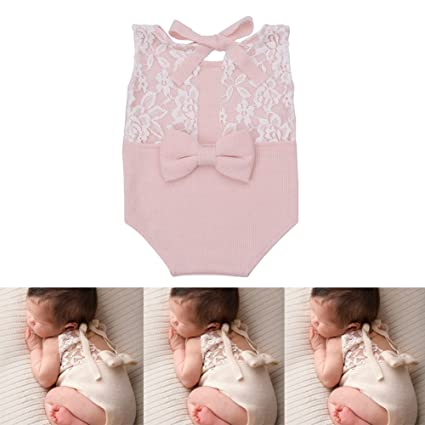 5b367961f0e Amazon.com  Zeroest Baby Photography Props Rompers Newborn Girl Photo Shoot  Outfits Lace Costume Infant Crochet Knitted Clothes (Pink)  Home   Kitchen