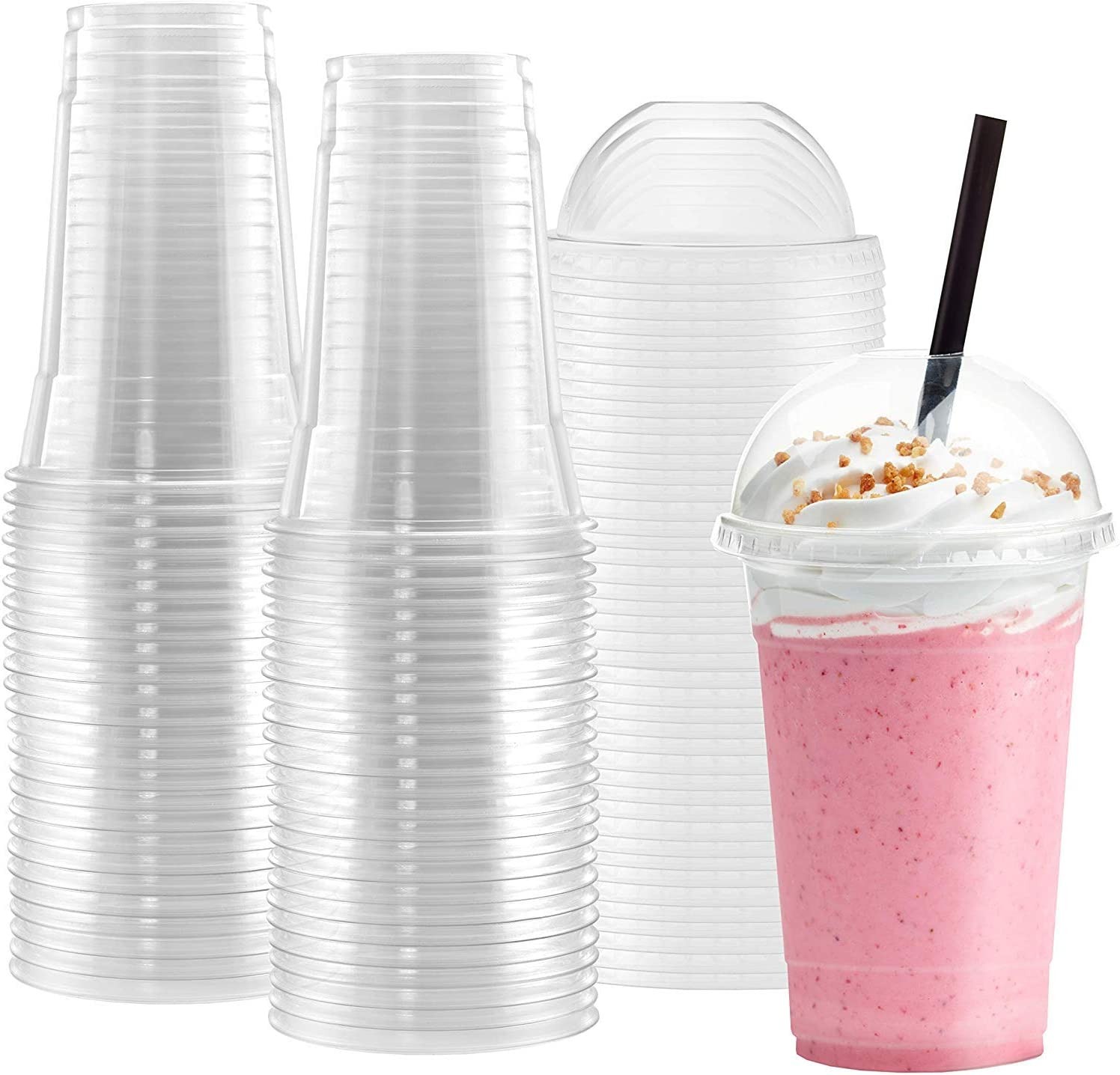 Netko Plastic Cups With DomeLids 50 Sets Of 16 OZ cups with lids