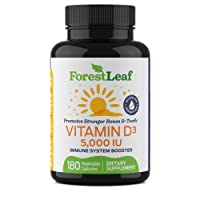 Vitamin D3 5,000 IU Daily Supplement - 180 Vegetable Capsules - Helps Boost and...