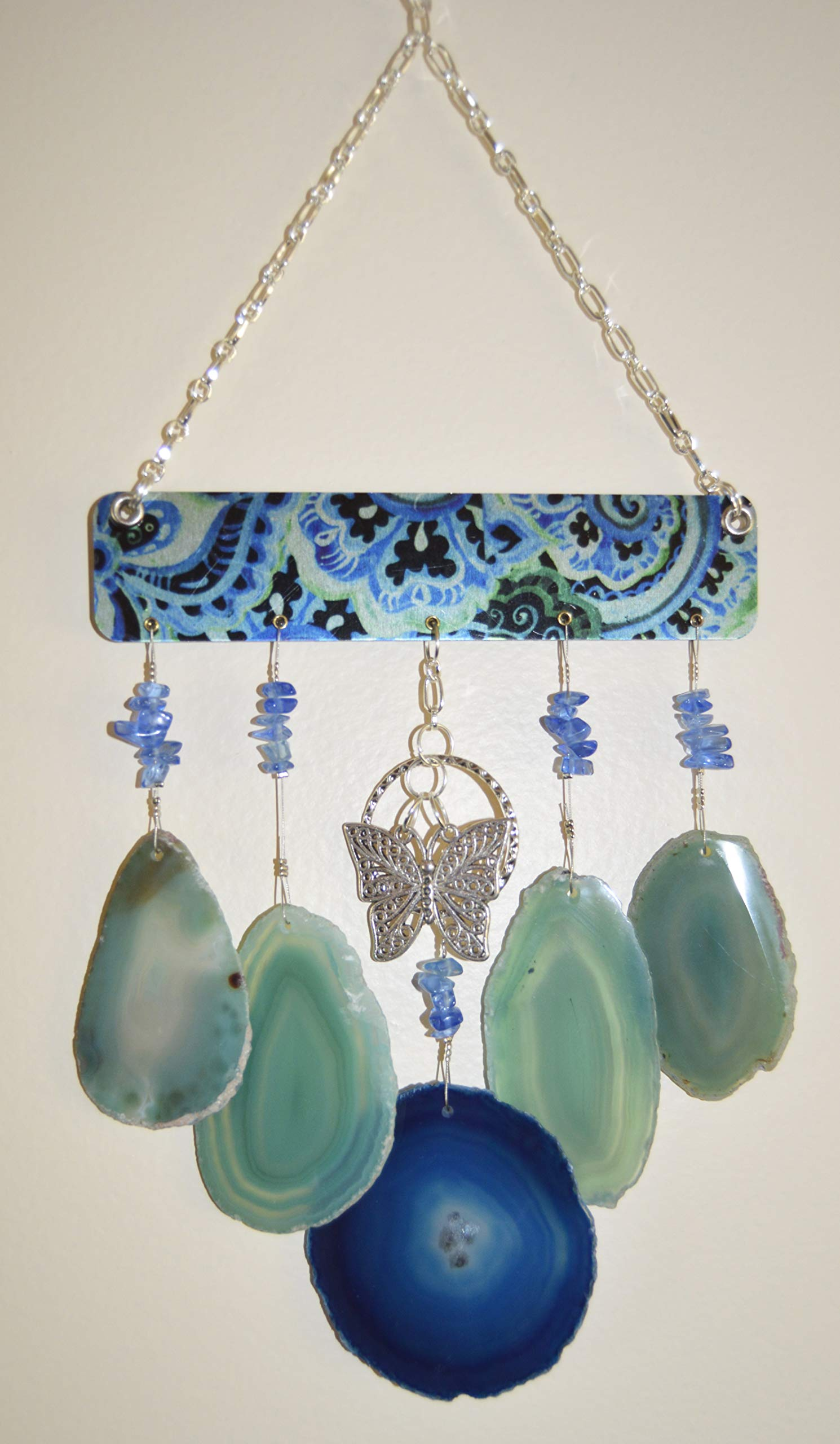 wind chime sliced Agate geode windchime stone sun catcher wind chime mobile window decor hanging silver butterflies & calming colors of agates