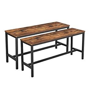 VASAGLE ALINRU Table Benches, Pair of 2, Industrial Style Indoor Benches, 42.5 x 12.8 x 19.7 Inches, Durable Metal Frame, for Kitchen, Dining Room, Living Room, Rustic Brown UKTB33X
