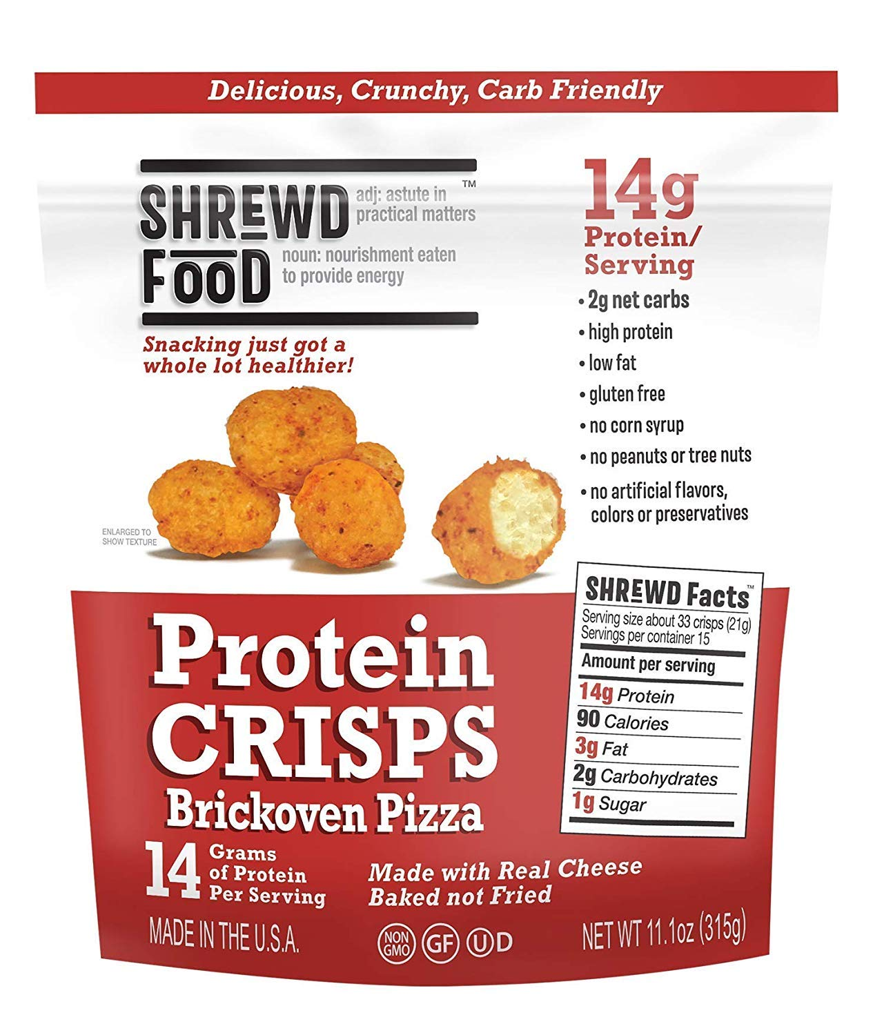 Shrewd Food Protein Puffs, Low Carb Cheese Pizza Puffs, High Protein Crunch, Keto Friendly Snack, Savory Protein Chip, 14g Protein Per Serving, 2g Carbs, Brick Oven Pizza, 15 Serving -Family Size