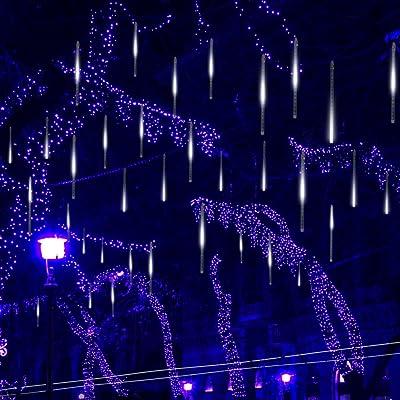 Kellegour Falling Rain Lights, Led Meteor Shower Rain Lights 8 Tubes 136 LED(11.8 inch/Tube) Icicle Rain Drop Lights Christmas Lights for Christmas Tree Decoration Wedding Party Holiday (White) : Garden & Outdoor
