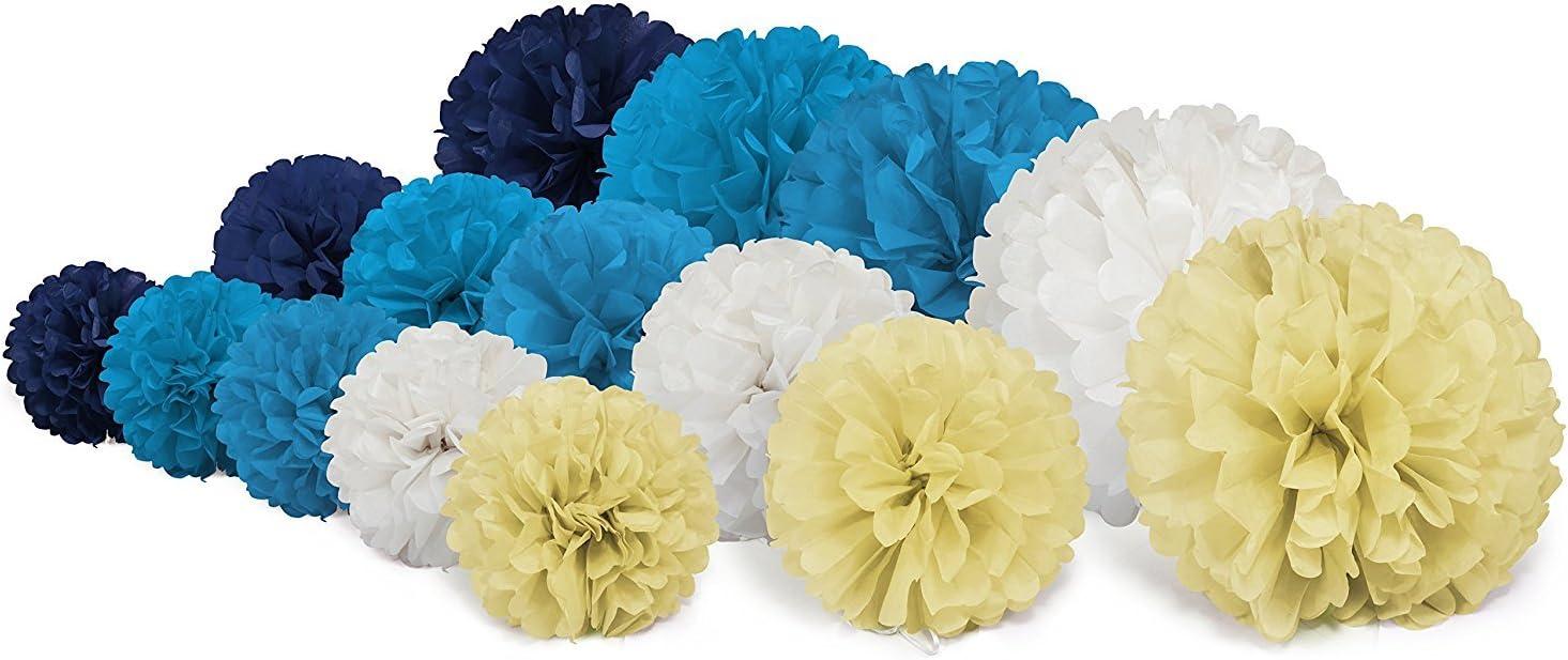 Partie Parti D/écoration etc Trofou Pompon Papier Fleur// Paper Flowers Couleurs// Pompon Papier de Soie Boules de Fleur Parfait Pour F/ête Anniversaire Bleu mixte*20 Mariage Baby shower