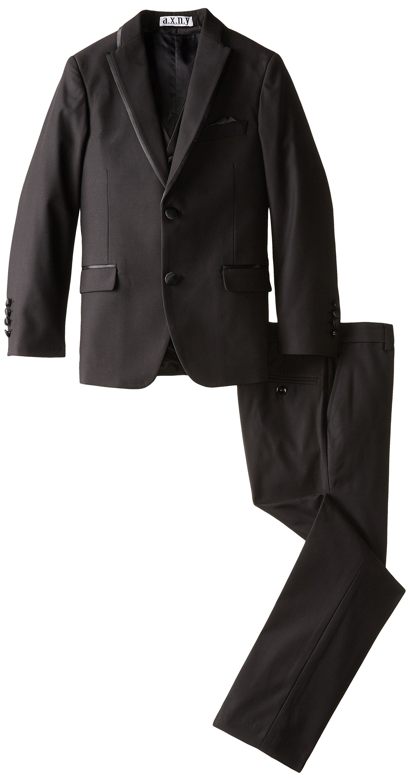 a.x.n.y Big Boys' Boys Tailored 3 Piece Tuxedo, Black, 18