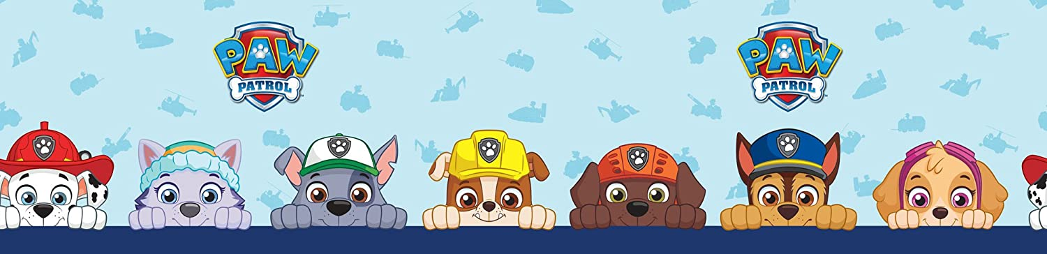 Nickelodeon Official Paw Patrol Self Adhesive Wallpaper Border Blue 5 M Amazoncouk Kitchen Home
