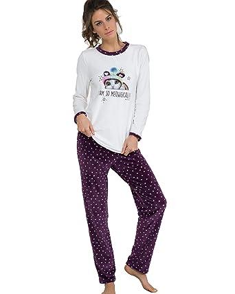 MASSANA Pijama de Mujer Estampado Gato P681240 - Morado, M: Amazon ...
