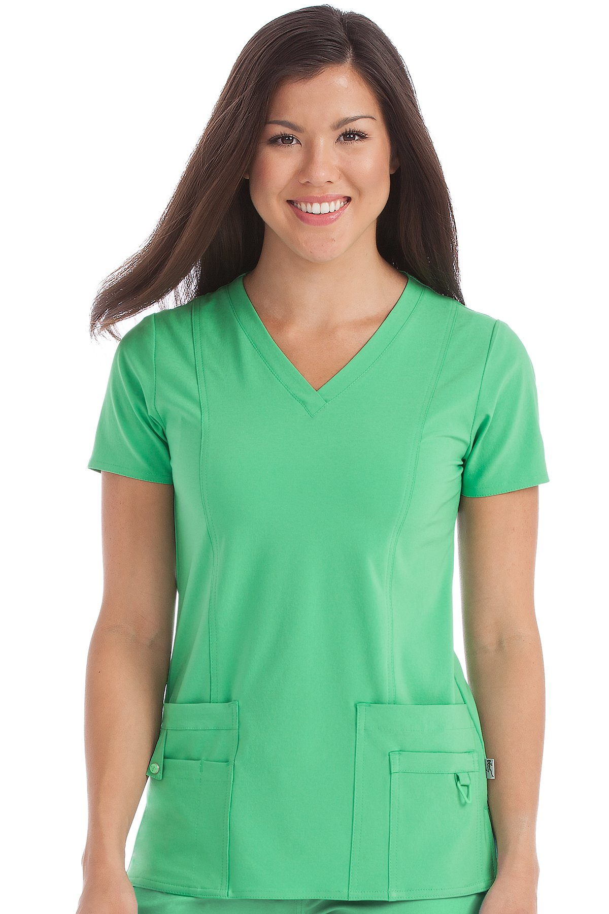 Med Couture Women's 'Activate' V-Neck In-Motion Classic Scrub Top, Clover, Large