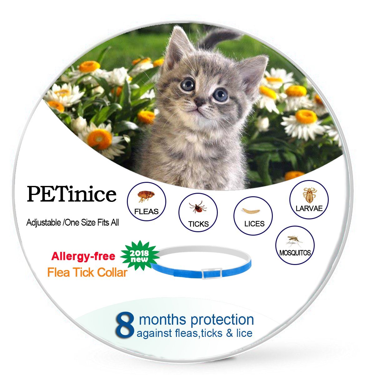 Flea and Tick Prevention for Cats ,Flea Control for Cats-Prevents,Repels Fleas,Ticks & Lice Waterproof and Adjustable Cat Flea and Tick Control for 8 Month Protection(New Version)