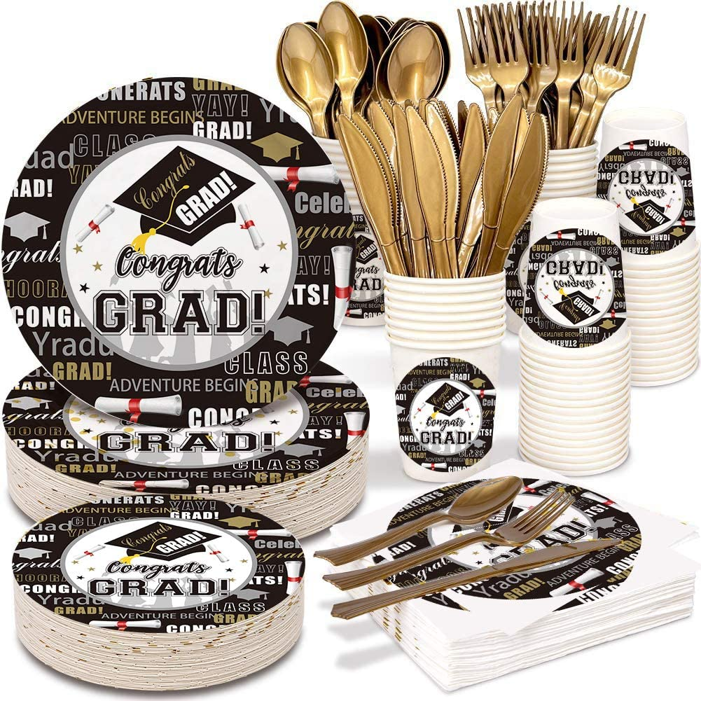 2021 Graduation Party Supplies Tableware Set - 150 PCS Disposable Dinnerware Set - Gold Paper Plates Napkins Cups, Gold Plastic Forks Knives Spoons for Graduation Eve Party Birthday