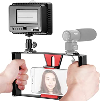 Neewer Smartphone Vídeo Rig con Regulable 160 LED Video Luz Kit ...
